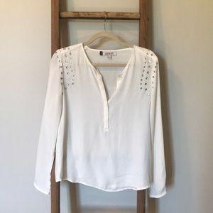 White studded long sleeve blouse